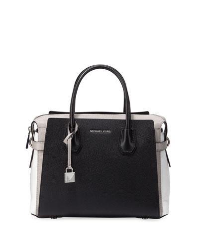 Mercer Belted Colorblock Leather Satchel Bag