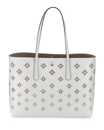molly large perforated leather tote bag