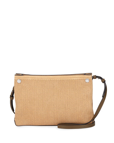 Compass Stitched Suede Crossbody Bag