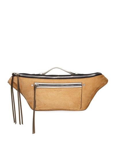 Elliot Large Suede Belt Bag, Brown