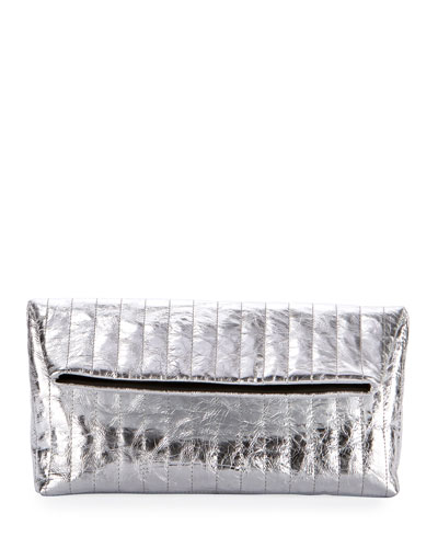 Quilted Metallic Clutch Bag