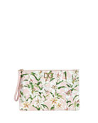Dolce & Gabbana Lilium Leather Zip Pouch Bag