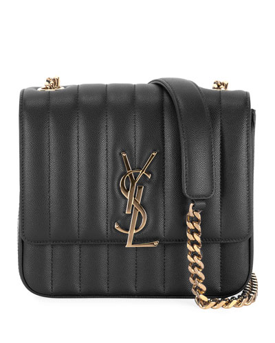 Vicky Medium Monogram YSL Quilted Shoulder Bag
