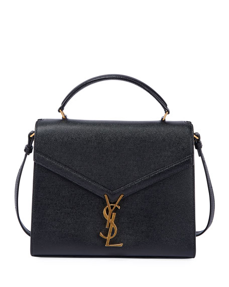 Saint Laurent Cassandra Medium YSL Grain de Poudre Top-Handle Shoulder Bag