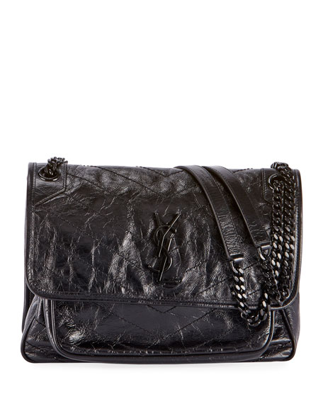 Saint Laurent Niki Medium Crinkled Calfskin Flap-Top Shoulder Bag, Black Hardware