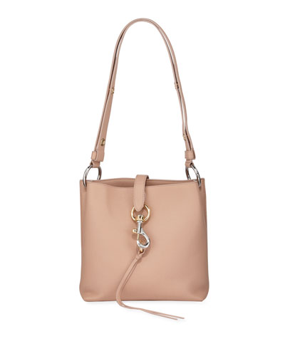 Megan Small Leather Feed Bag, Beige