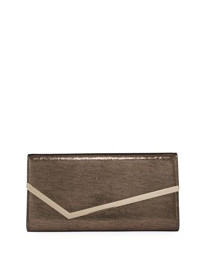 Erica Metallic Lizard-Print Clutch Bag