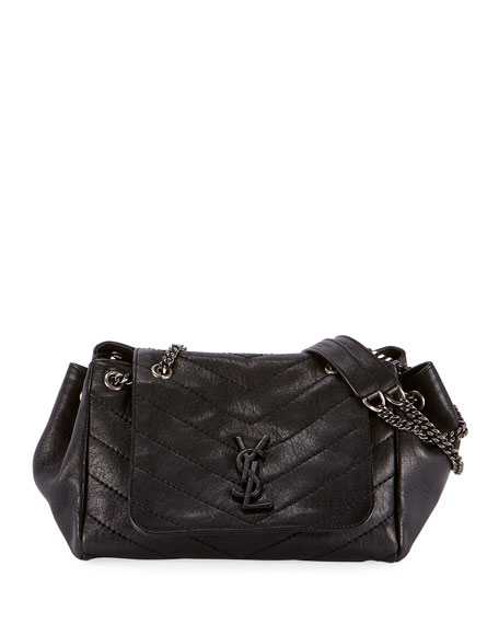 Saint Laurent Nolita Medium Vintage Lambskin Leather Flap-Top Shoulder Bag, Black Hardware