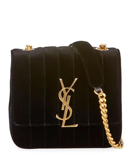 Saint Laurent Vicky Small Monogram YSL Velvet Shoulder Bag