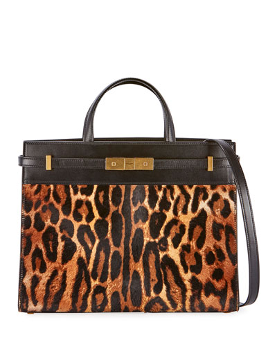 Manhattan Small Leopard Calf Hair Tote Bag