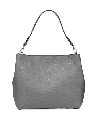 Klara Medium Monogrammed Leather Hobo Bag