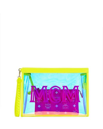 Luccent Medium See-Through Neon Zip-Top Clutch Bag