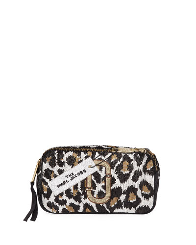 Snapshot Animal-Print Beaded Crossbody Bag