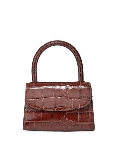 BY FAR Mini Crocodile-Embossed Top-Handle Bag, Brown