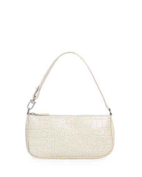 BY FAR Rachel Small Croc-Embossed Shoulder Bag, Cream