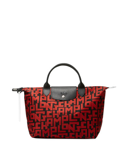 Le Pliage Large Tote Bag, Black/Red