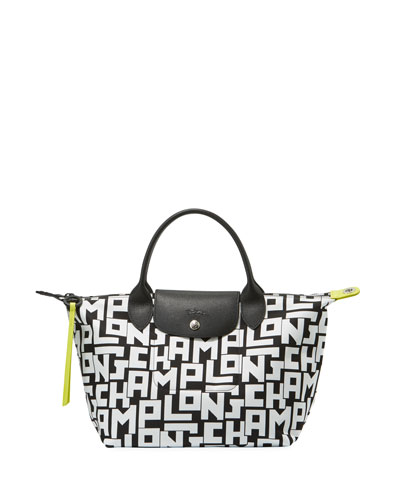 Le Pliage Large Tote Bag, Black/White
