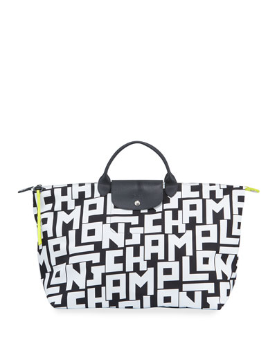 Le Pliage LGP XL Logo-Print Travel Tote Bag