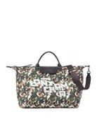 Longchamp Camo Nylon XL Travel Tote Bag