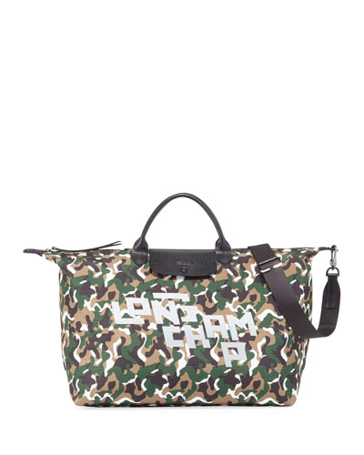 Camo Nylon XL Travel Tote Bag