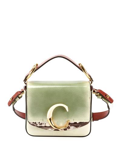 C Mini Glossy Top-Handle Bag