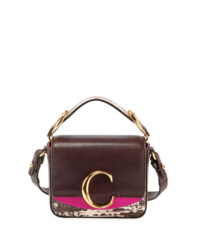 C Mini Lizard-Embossed Top-Handle Bag