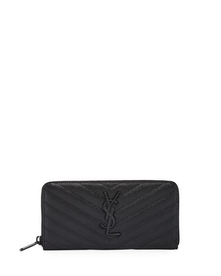 Saint Laurent YSL Monogram Continental Zip-Around Wallet
