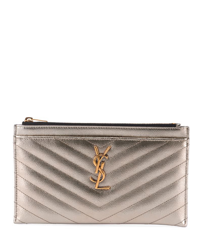 Monogram YSL Metallic Quilted Bill Pouch Wallet