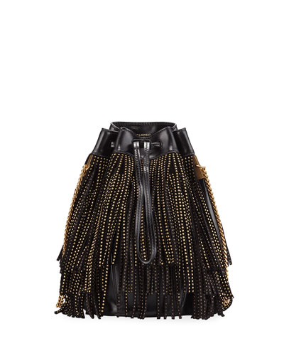 Talitha Small YSL Monogram North/South Fringe Bucket Bag