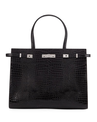 Manhattan Medium Belted Croco Tote Bag