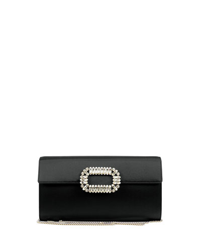 Envelope Satin Flap Clutch Bag, Black