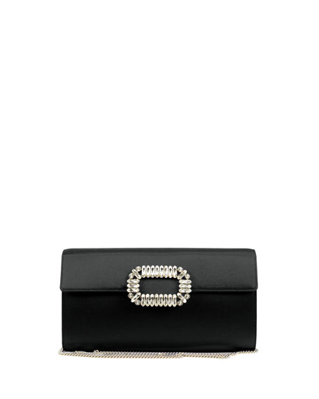 Roger Vivier Envelope Satin Flap Clutch Bag, Black