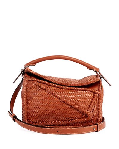 Puzzle Small Woven Leather  Satchel Bag