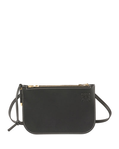 Gate Double Zip Pouch Clutch Bag