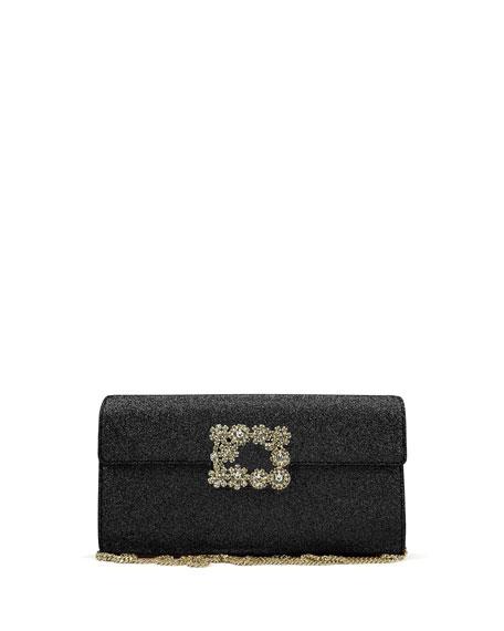 Roger Vivier Envelope Flap Sexy Clutch Bag, Black