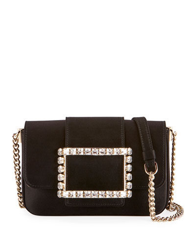 Tres Strass Satin Buckle Clutch Bag, Black