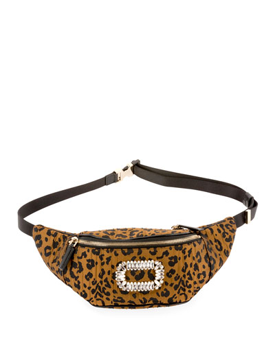 Quilted Leopard-Print Belt Bag