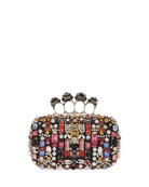 Alexander McQueen Jeweled Four-Ring Embellished Leather Clutch