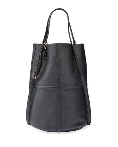 Leather Medium Bucket Tote Bag