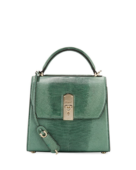 Salvatore Ferragamo The Boxyz Lizard Top Handle Bag