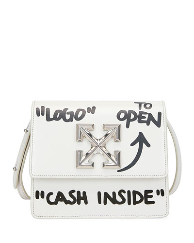Jitney Cash Inside Crossbody Bag, White/Black