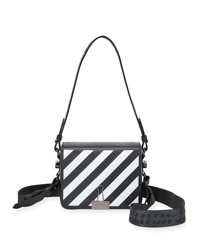 Diagonal Striped Flap Shoulder Bag