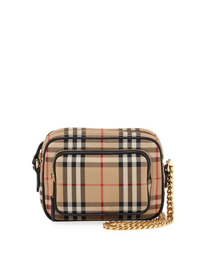 Small Vintage Check Camera Shoulder Bag