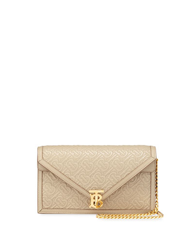 Small TB Monogrammed Quilted Leather Envelope Crossbody Bag