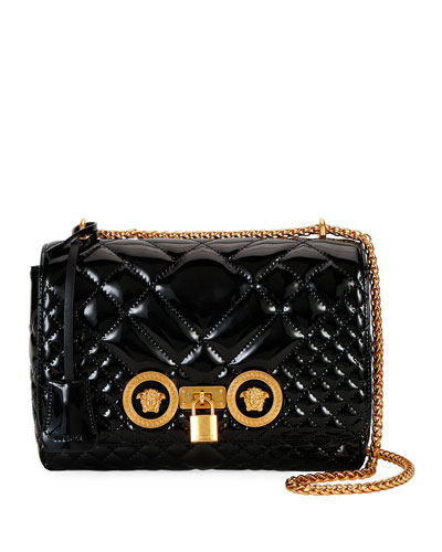 Icon Quilted Patent Shoulder Bag