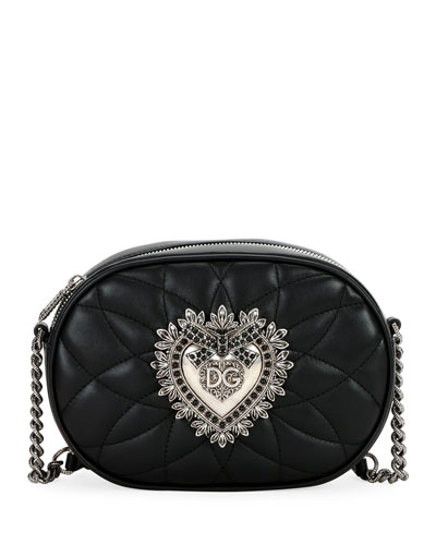 Devotion Quilted Leather Camera Bag with Heart Medallion