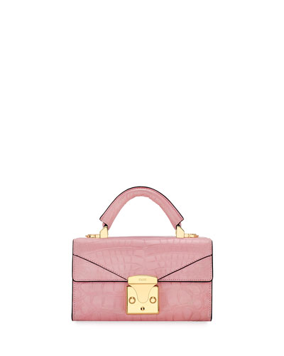 Crocodilian Mini Top Handle Bag, Pink