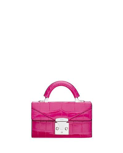 Mini Crocodile Top Handle Bag, Pink