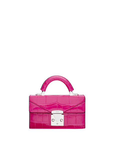 STALVEY Mini Crocodile Top Handle Bag, Pink