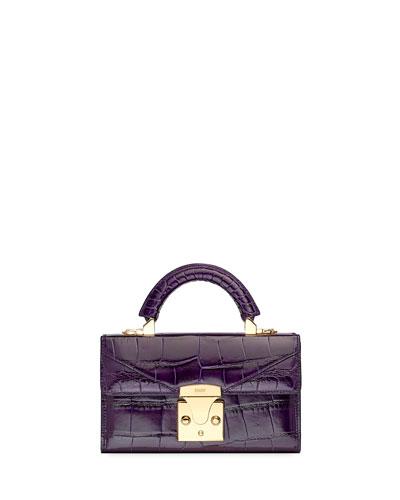 Mini Crocodile Top Handle Bag, Plum